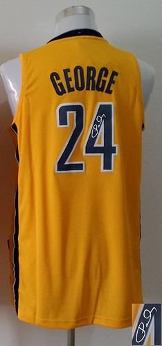 Indiana Pacers Revolution 30 Autographed #24 Paul George Yellow Stitched NBA Jersey