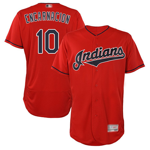 Indians #10 Edwin Encarnacion Red Flexbase Authentic Collection Stitched Baseball Jersey