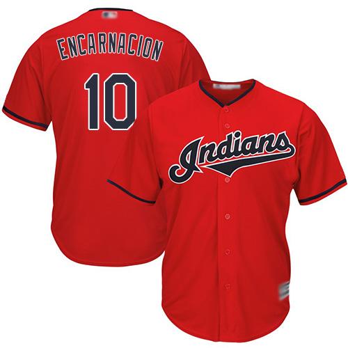 Indians #10 Edwin Encarnacion Red New Cool Base Stitched Baseball Jersey