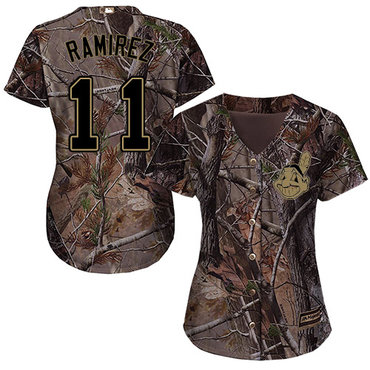 Indians #11 Jose Ramirez Camo Realtree Collection Cool Base Women's Stitched Baseball Jersey