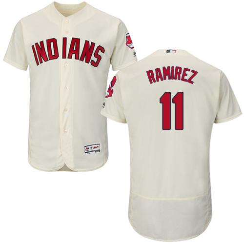 Indians #11 Jose Ramirez Cream Flexbase Authentic Collection Stitched Baseball Jersey