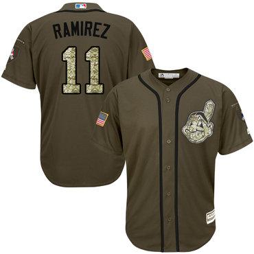 Indians #11 Jose Ramirez Green Salute to Service Stitched Baseball Jersey