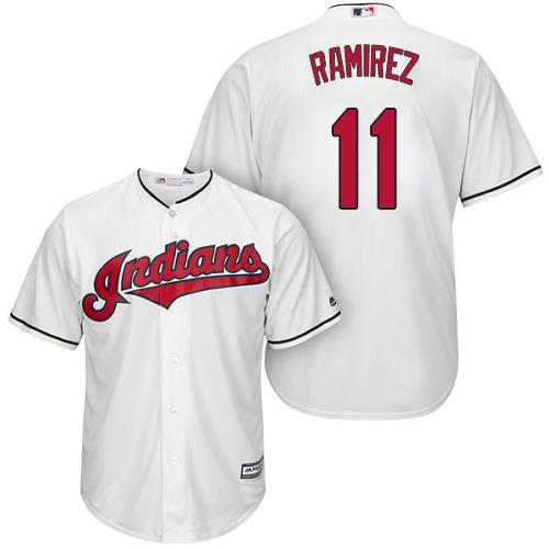 Indians #11 Jose Ramirez White New Cool Base Stitched Baseball Jersey