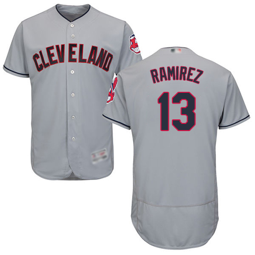 Indians #13 Hanley Ramirez Grey Flexbase Authentic Collection Stitched Baseball Jersey
