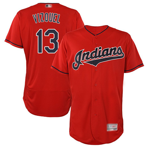 Indians #13 Omar Vizquel Red Flexbase Authentic Collection Stitched Baseball Jersey