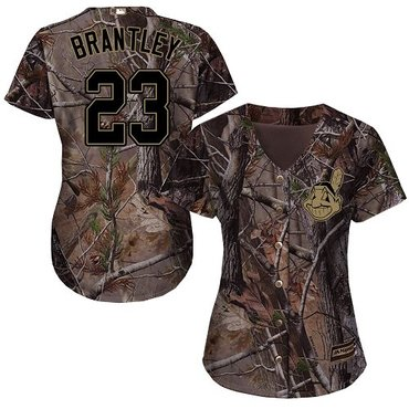 Indians #23 Michael Brantley Camo Realtree Collection Cool Base Women's Stitched Baseball Jersey