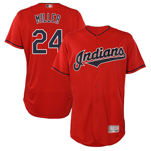 Indians #24 Andrew Miller Red Flexbase Authentic Collection Stitched Baseball Jersey