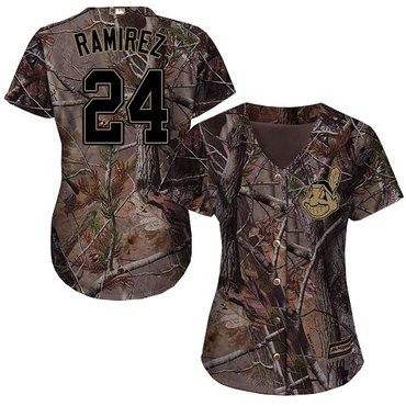 Indians #24 Manny Ramirez Camo Realtree Collection Cool Base Women's Stitched Baseball Jersey