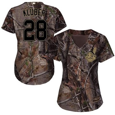 Indians #28 Corey Kluber Camo Realtree Collection Cool Base Women's Stitched Baseball Jersey