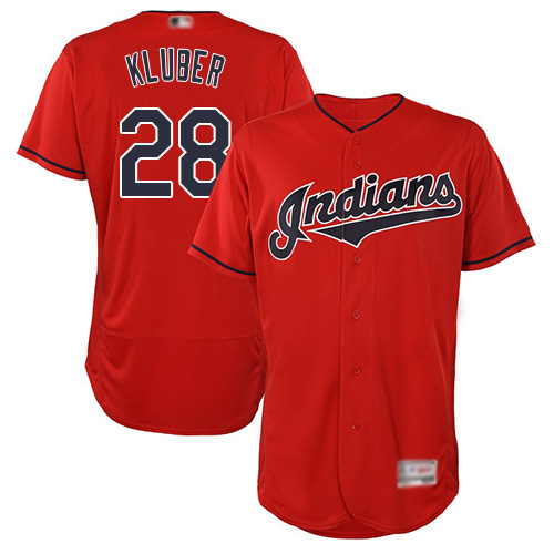 Indians #28 Corey Kluber Red Flexbase Authentic Collection Stitched Baseball Jersey