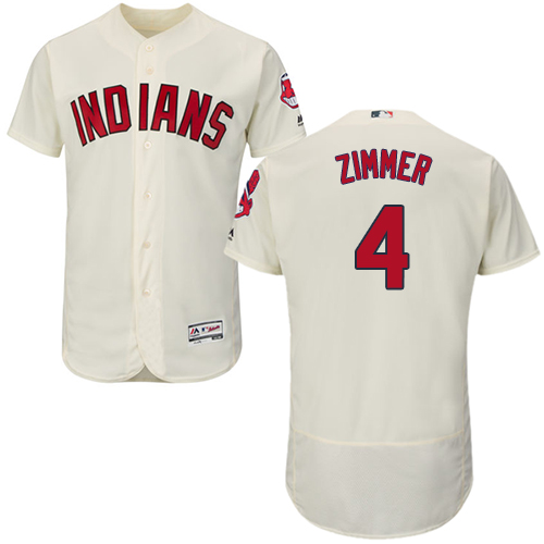 Indians #4 Bradley Zimmer Cream Flexbase Authentic Collection Stitched Baseball Jersey