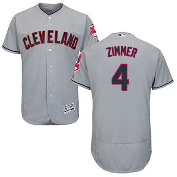 Indians #4 Bradley Zimmer Grey Flexbase Authentic Collection Stitched Baseball Jersey
