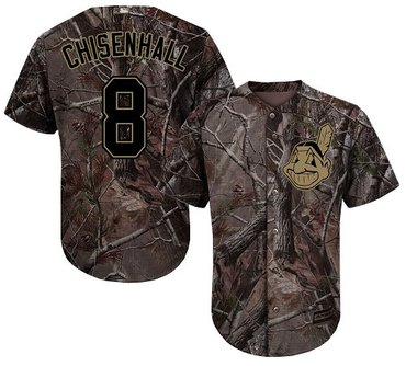 Indians #8 Lonnie Chisenhall Camo Realtree Collection Cool Base Stitched Baseball Jersey