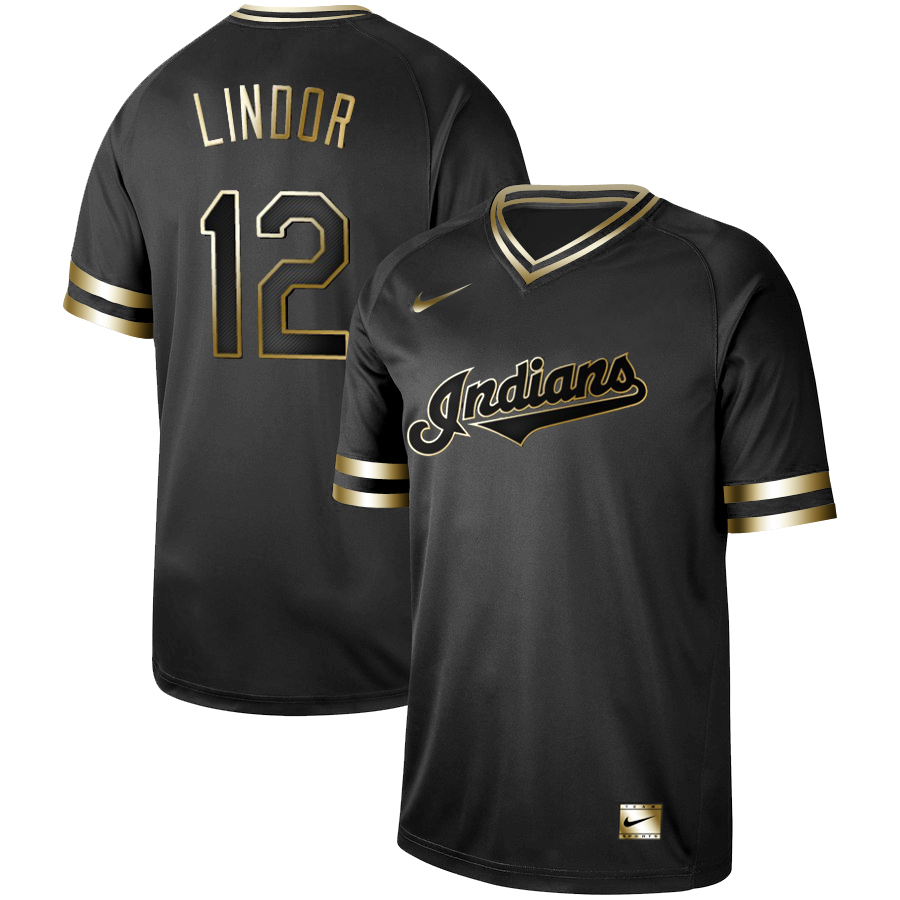 Indians 12 Francisco Lindor Black Gold Nike Cooperstown Collection Legend V Neck Jersey