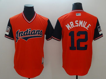 Indians 12 Francisco Lindor Mr. Smile Red 2018 Players' Weekend Authentic Team Jersey