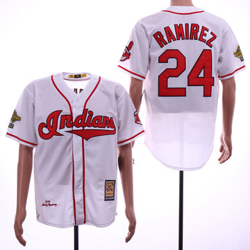 Indians 24 Manny Ramirez White 1995 Cooperstown Collection Cool Base Jersey