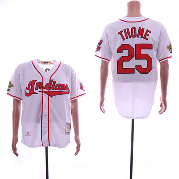 Indians 25 Jim Thome White Cooperstown Collection 1995 Throwback Jersey