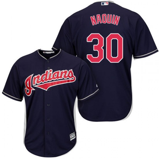 Indians 30 Tyler Naquin Navy Youth Cool Base Jersey
