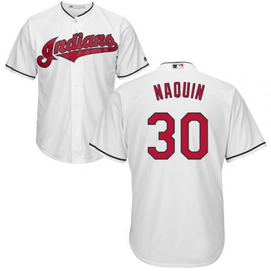 Indians 30 Tyler Naquin White Youth Cool Base Jersey