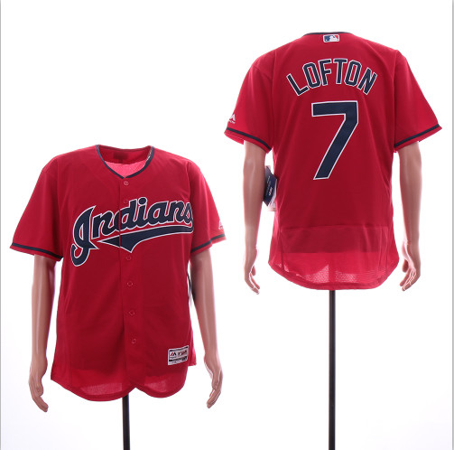 Indians 7 Kenny Lofton Red Flexbase Jersey