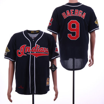 Indians 9 Carlos Baerga Navy 1995 World Series Cooperstown Collection Cool Base Jersey