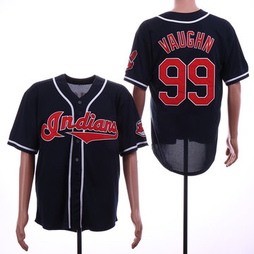 Indians 99 Ricky Vaughn Navy Throwback Jersey