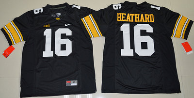 Iowa Hawkeyes 16 C.J. Beathard Black College Football Jersey