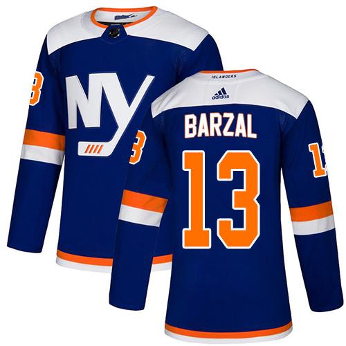 Islanders #13 Mathew Barzal Blue Alternate Authentic Stitched Hockey Jersey
