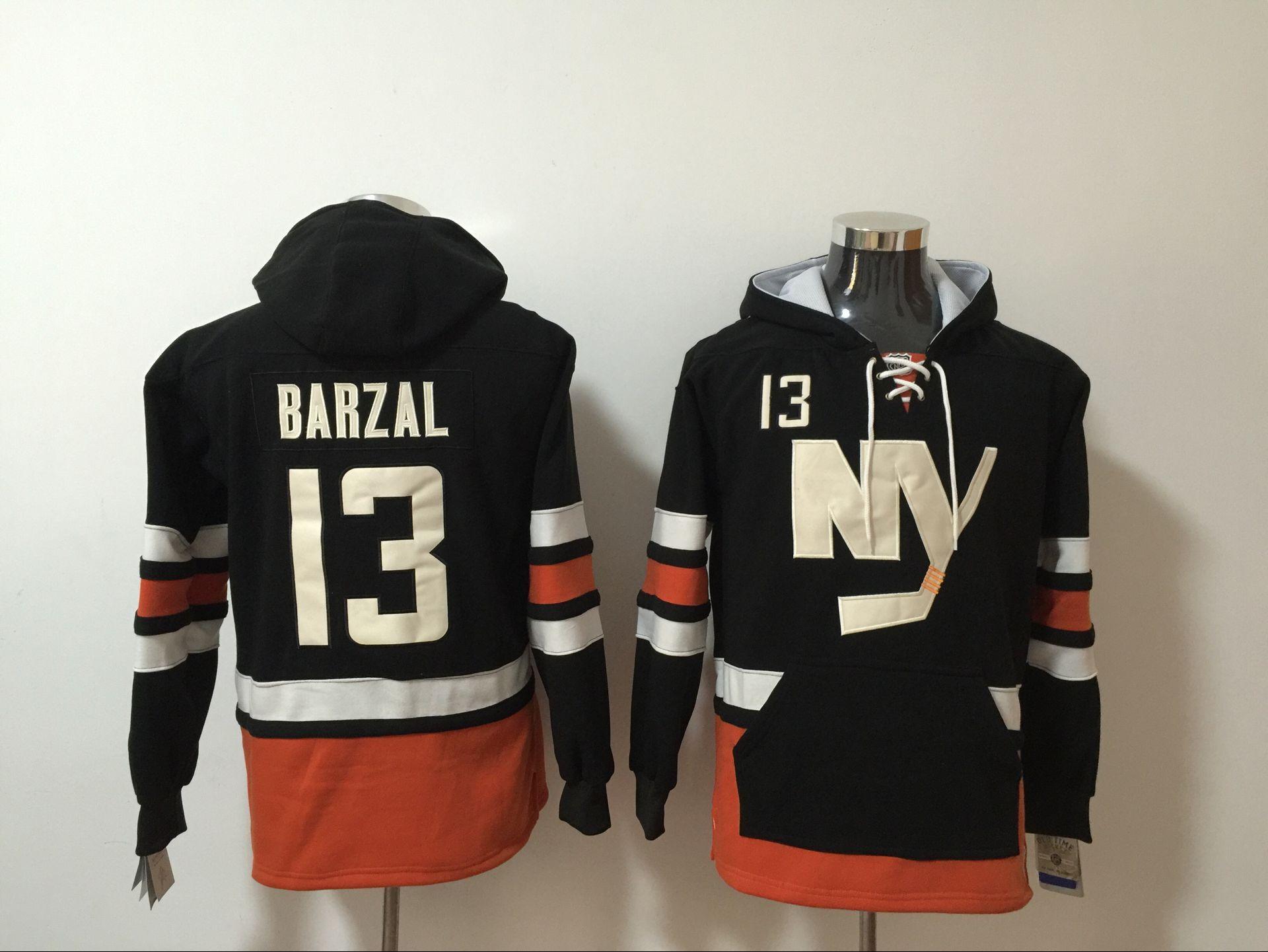 Islanders 13 Mathew Barzal Black All Stitched Hooded Sweatshirt