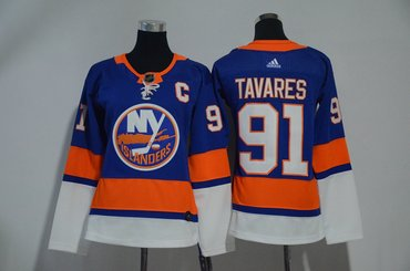 Islanders 91 John Tavares Blue Women Adidas Jersey
