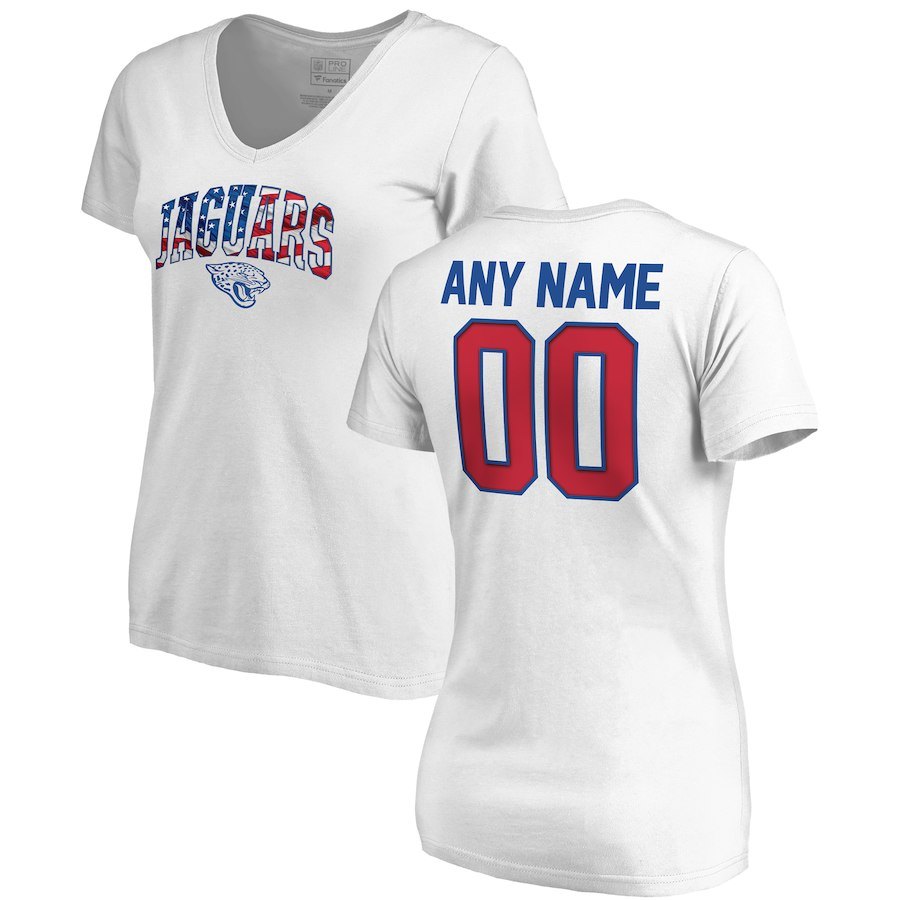 Jacksonville Jaguars NFL Pro Line By Fanatics Branded Women's Any Name & Number Banner Wave V Neck T-Shirt White