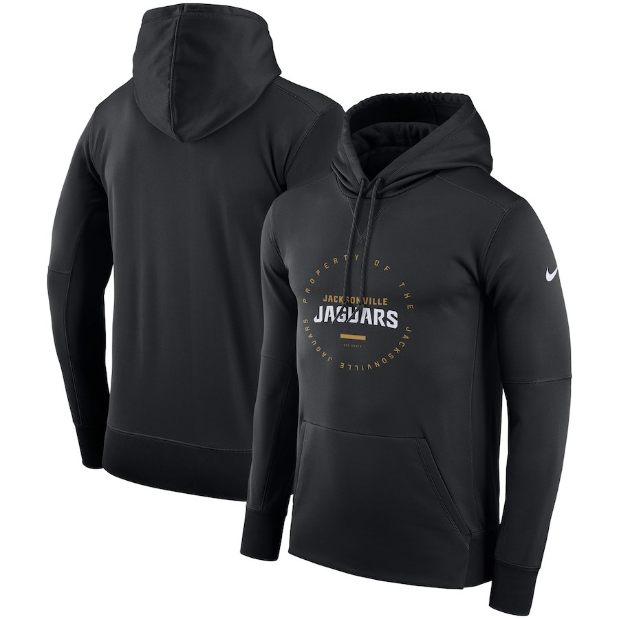 Jacksonville Jaguars Nike Sideline Property Of Wordmark Logo Performance Pullover Hoodie Black