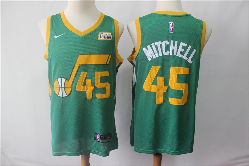 Jazz 45 Donovan Mitchell Green 2018-19 Earned Edition Nike Swingman Jersey