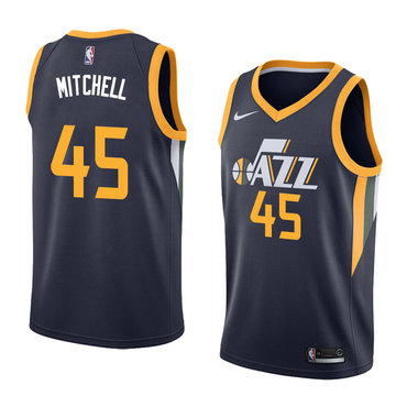 Jazz 45 Donovan Mitchell Navy Nike Swingman Jersey(Without The Sponsor's Logo)