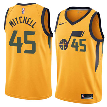 Jazz 45 Donovan Mitchell Yellow Nike Swingman Jersey(Without The Sponsor's Logo)