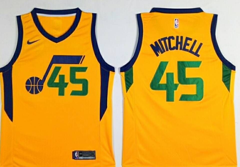 Jazz 45 Donovan Mitchell Yellow Nike Swingman Jersey