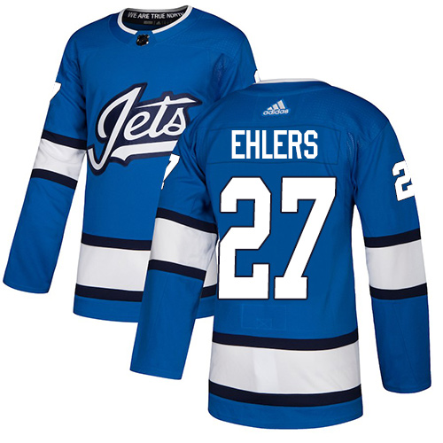 Jets #27 Nikolaj Ehlers Blue Alternate Authentic Stitched Hockey Jersey