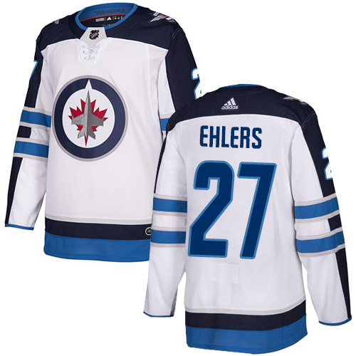 Jets #27 Nikolaj Ehlers White Road Authentic Stitched Hockey Jersey