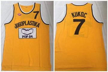 Jugoplastika Yugoslavia Croatia 7 Toni Kukoc Yellow Movie Stitched Basketball Jersey