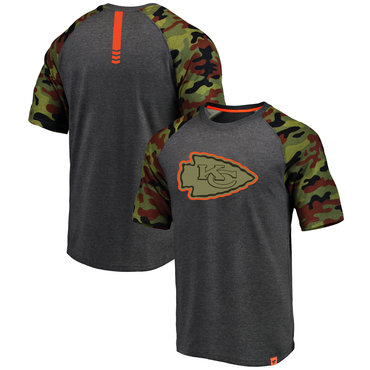 Kansas City Chiefs Heathered Gray Camo NFL Pro Line By Fanatics Branded T-Shirt