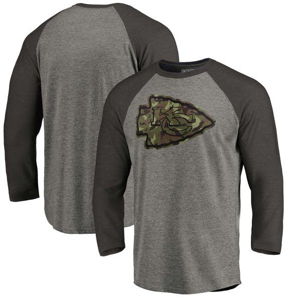 Kansas City Chiefs NFL Pro Line By Fanatics Branded Black Gray Tri Blend 34-Sleeve T-Shirt
