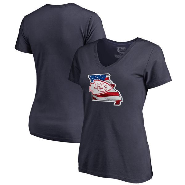 Kansas City Chiefs Navy Women's NFL Pro Line By Fanatics Branded Banner State T-Shirt