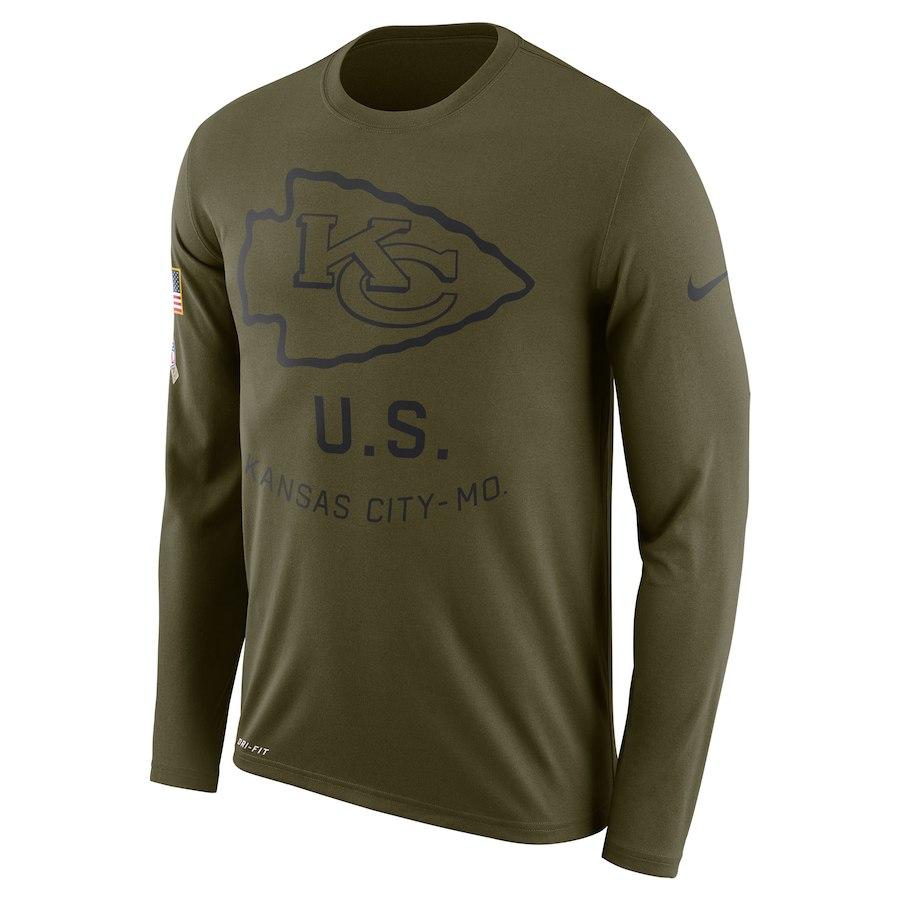 Kansas City Chiefs Nike Salute To Service Sideline Legend Performance Long Sleeve T-Shirt Olive