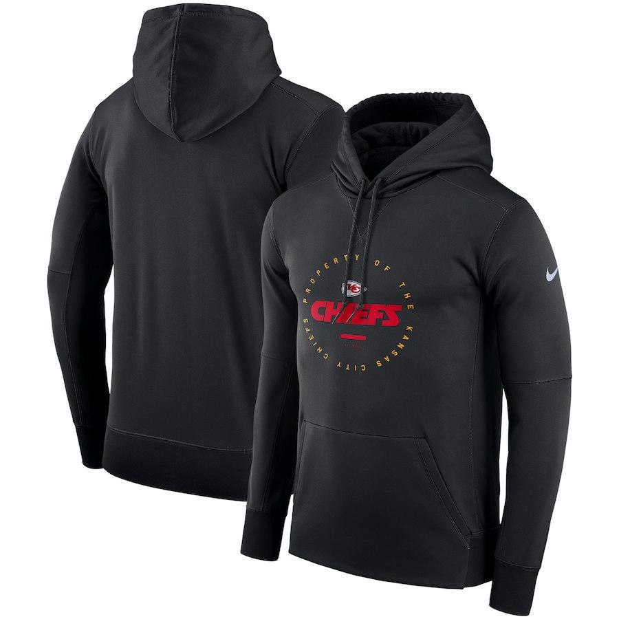 Kansas City Chiefs Nike Sideline Property Of Wordmark Logo Performance Pullover Hoodie Black