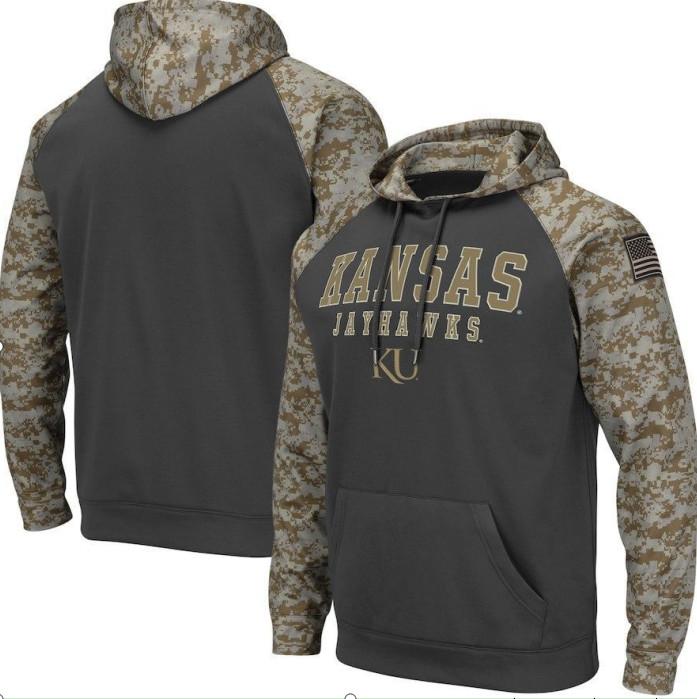 Kansas Jayhawks Gray Camo Men's Pullover Hoodie