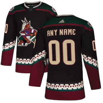 Kids Arizona Coyotes adidas Black Alternate Authentic Custom Jersey