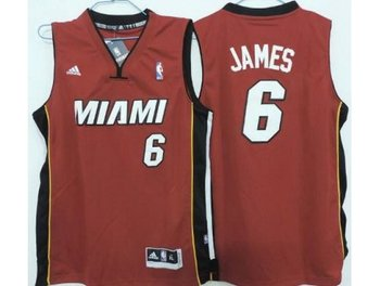 Kids Miami Heat 6 LeBron James Red Revolution 30 Swingman Jerseys
