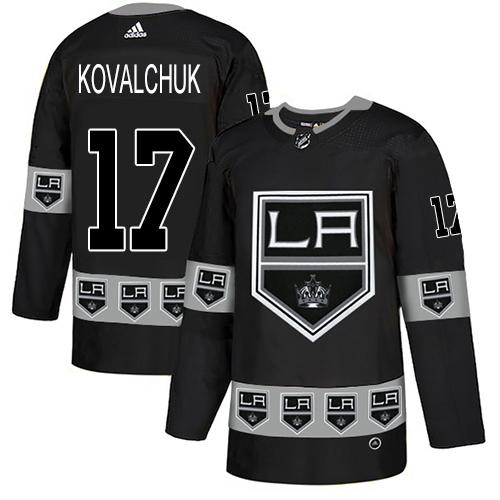 Kings #17 Ilya Kovalchuk Black Authentic Team Logo Fashion Stitched Hockey Jersey