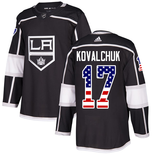 Kings #17 Ilya Kovalchuk Black Home Authentic USA Flag Stitched Hockey Jersey