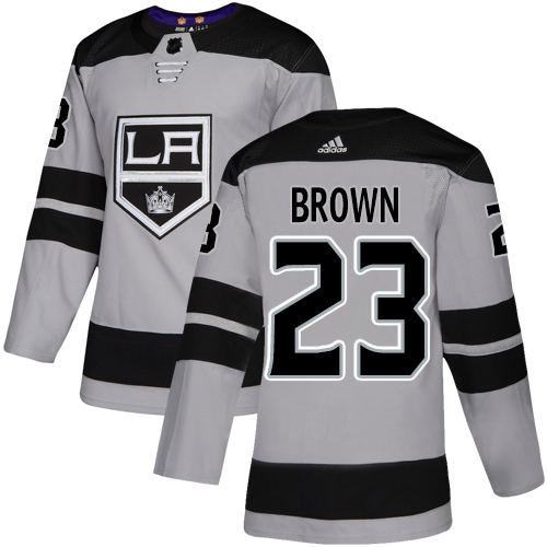 Kings #23 Dustin Brown Gray Alternate Authentic Stitched Hockey Jersey